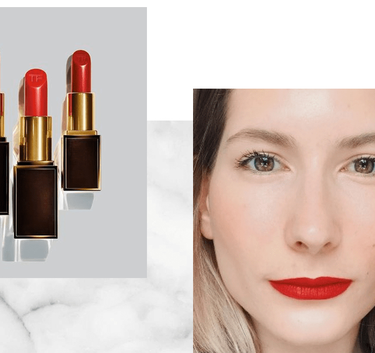 french girl wearing red lip