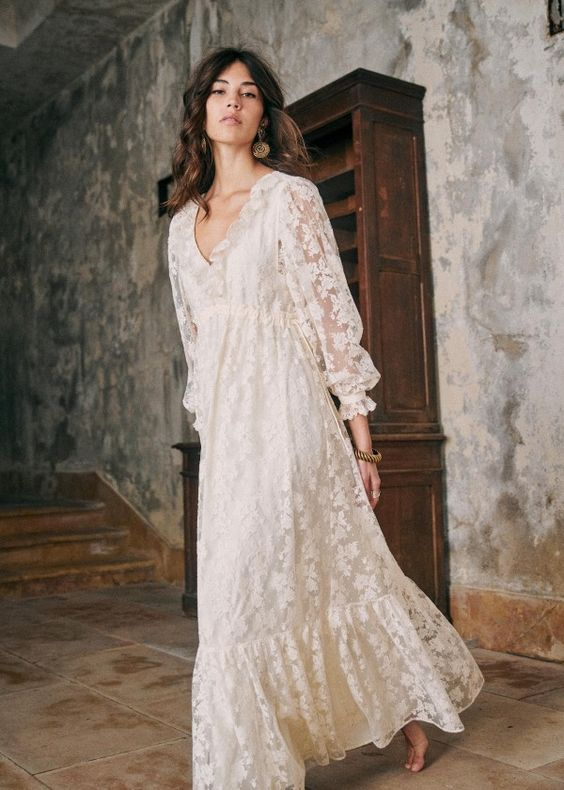 french girl with a long white summer dress sezane