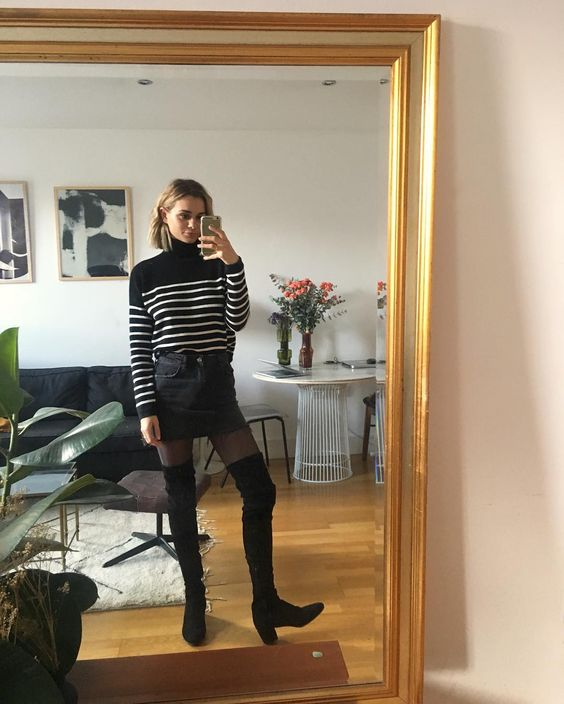 french girl fall stylet striped top