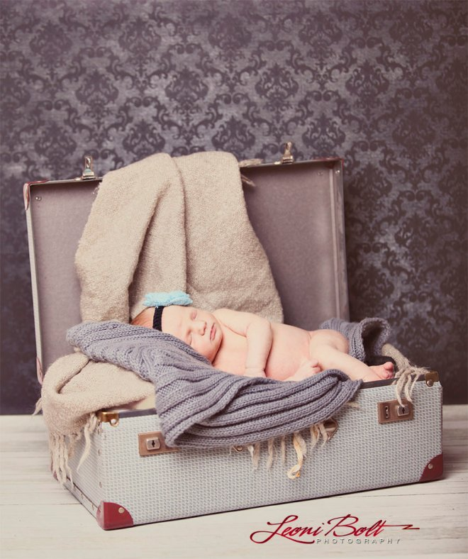 photographing newborns in a suitcase