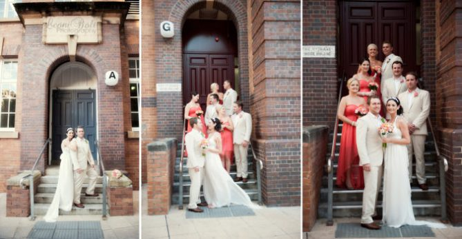 bridal party in doorway