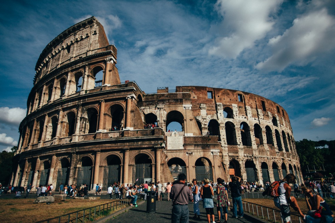 crowds at the coliseum, rome. by leonie wise