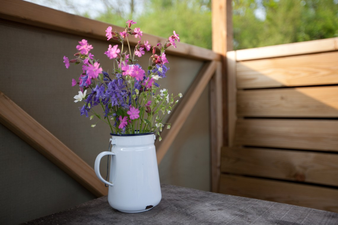 Wildflowers in enamel pot at Fforest Camp. By Leonie Wise