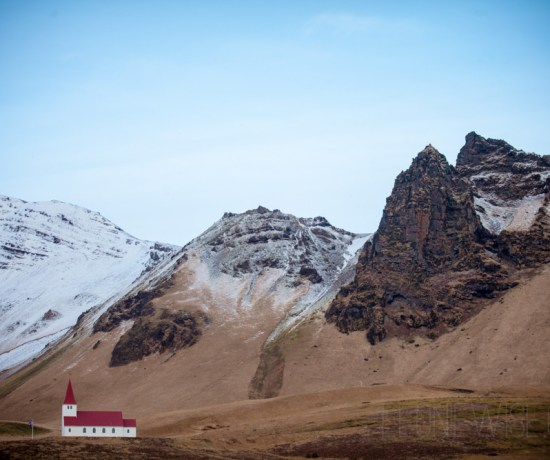 church & mountains of vik, iceland. copyright leonie wise