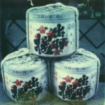 polaroid photograph of three 72 litre sake barrels. copyright leonie wise. all rights reserved