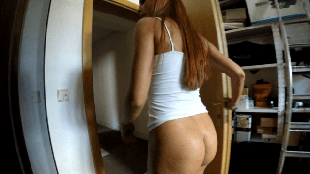 I followed her and it was so sexy that her white top and with no panties there walking in front of me