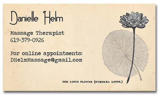 Business card design for Danielle Helm, Massage Therapist