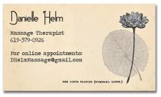 Business card design for Danielle Helm, Massage Therapist