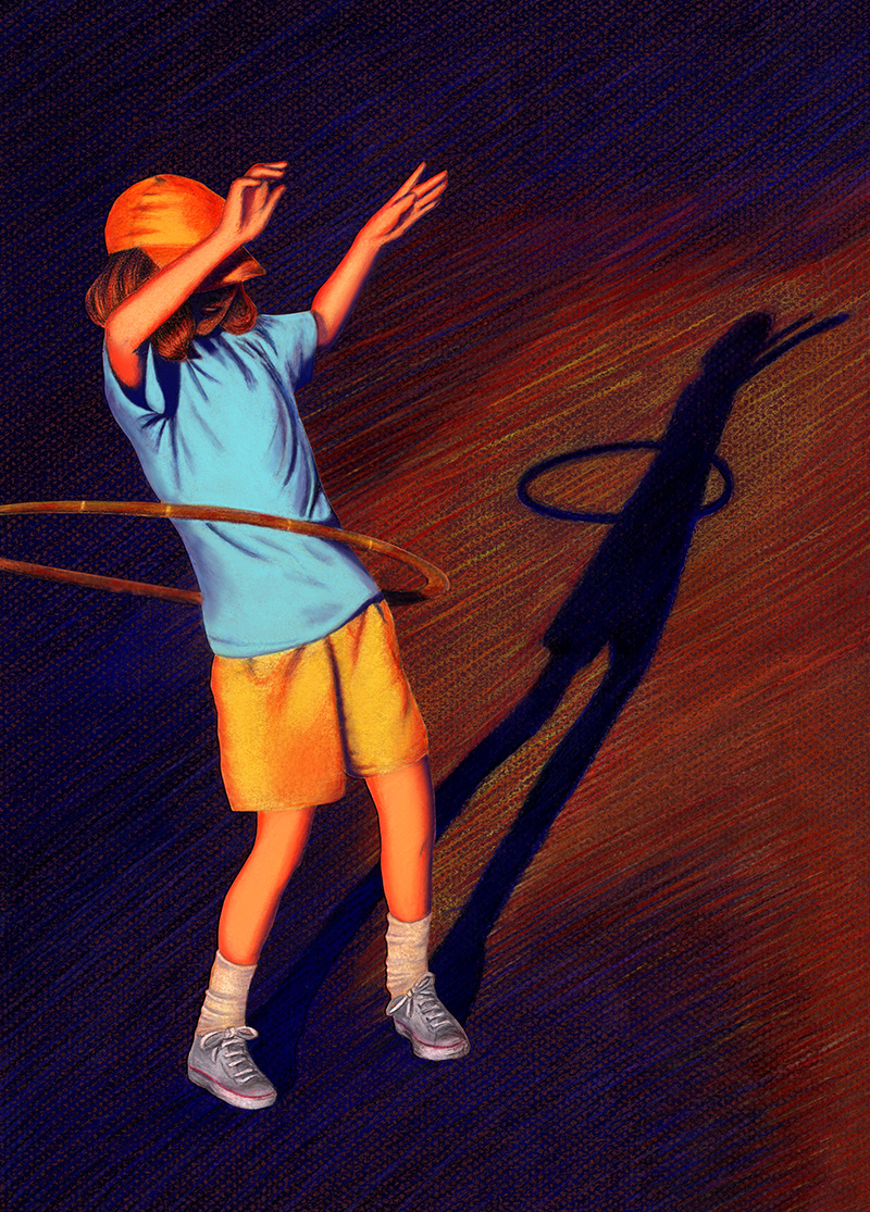 Colored pencils illustration of a young girl playing with a hula hoop