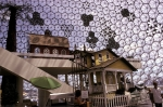 Exhibits in the bucky ball building