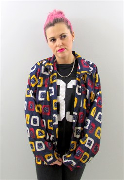 Vintage 90s Blue Pattern Bomber Jacket - £20.00 with FREE SHIPPING