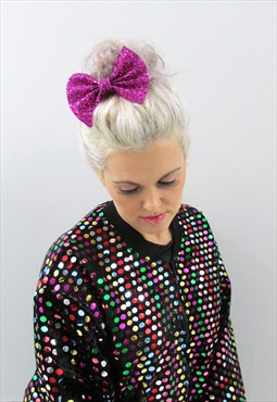 Pink Glitter Hair Bow - £6.00 with FREE SHIPPING