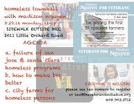 venue changed to sidewalk – homeless town hall meeting with madison nguyen at boccardo reception shelter