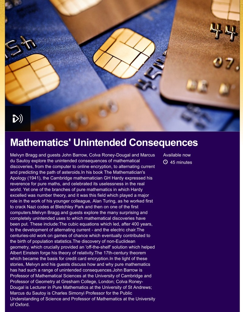 bbc in our time mathematics unintended consequences
