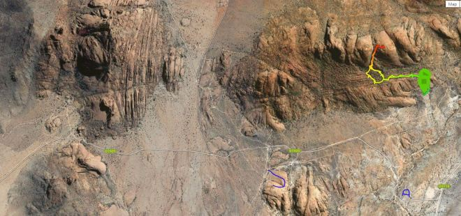 Spitzkoppe Overview showing the Swakop scramble in blue, Pontok 3 in multi colour and the A indicates the gate to the reserve
