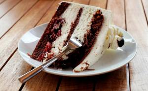slice of cake with fork in it