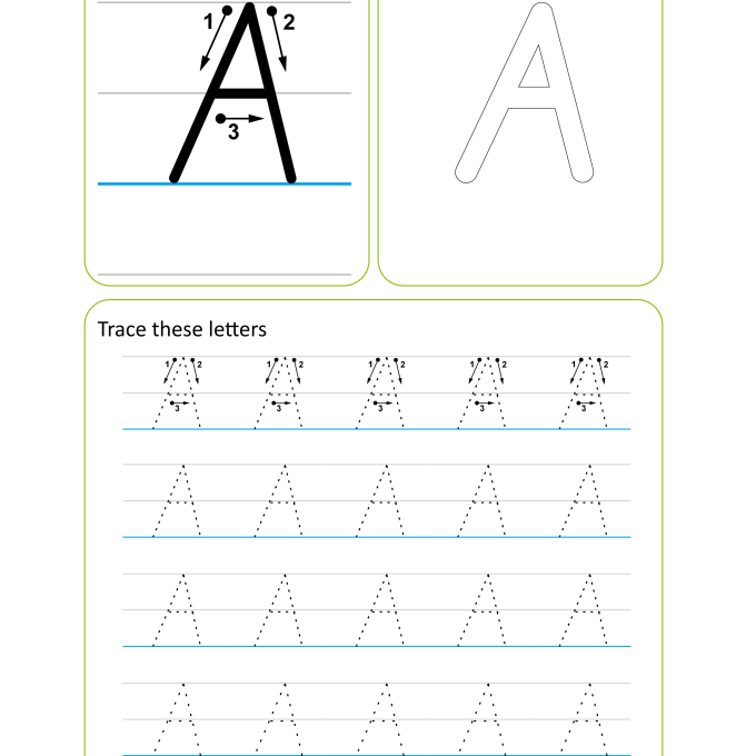 Victorian Modern Cursive Handwriting Worksheet - Letter A Uppercase