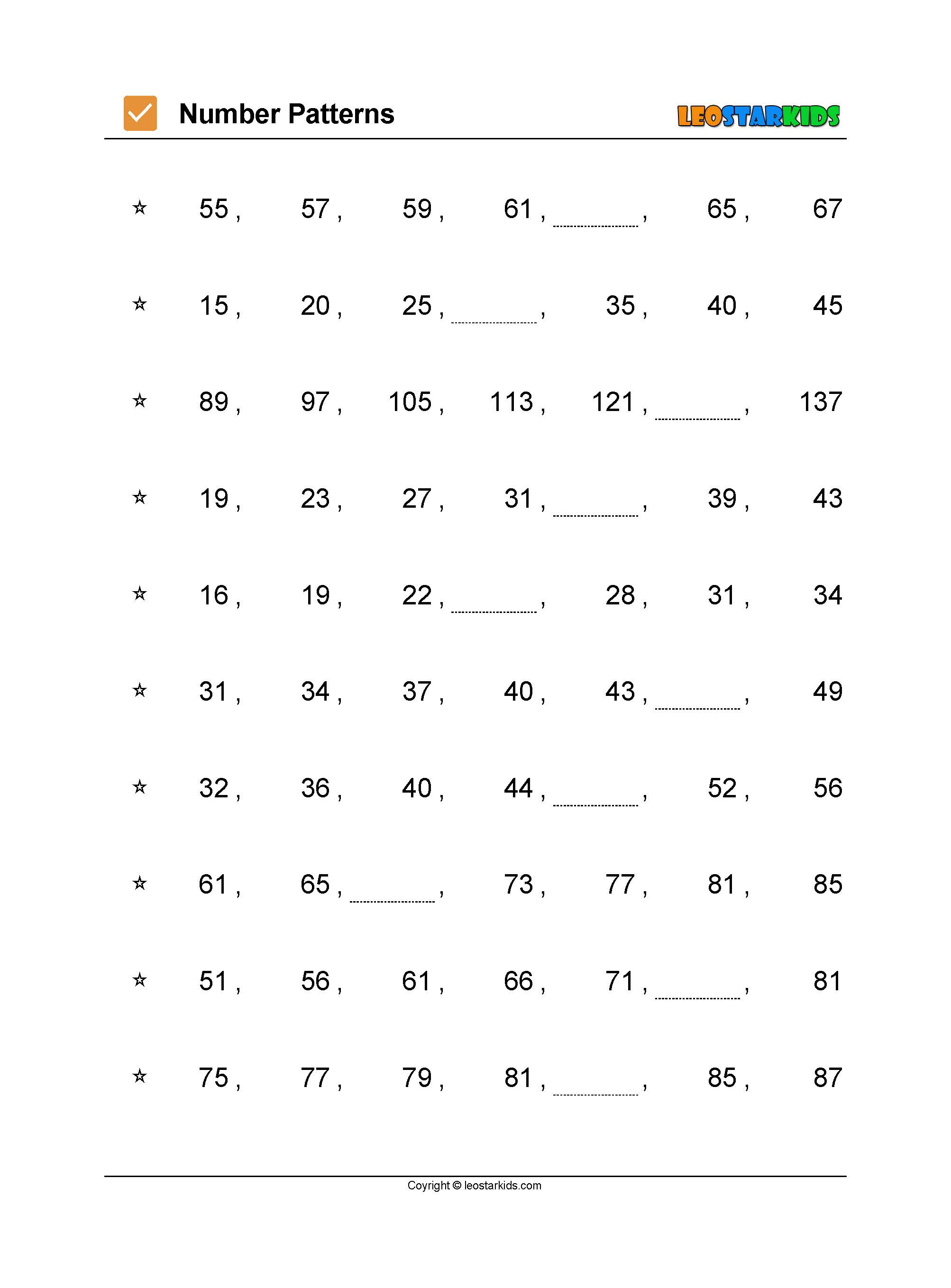 Mathematics Worksheets Number Patterns