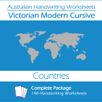 Australian Handwriting Worksheets – Victorian Modern Cursive – Countries