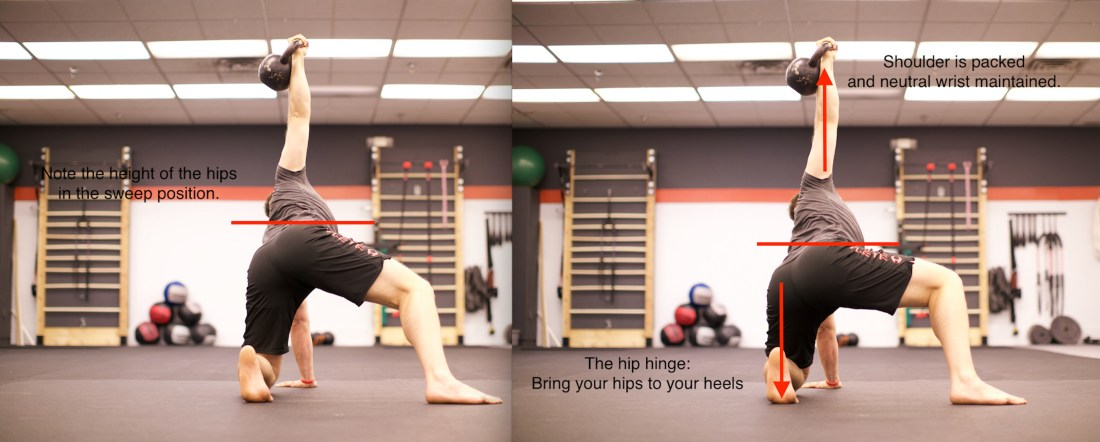 The hip hinge begins the transition to half-kneeling