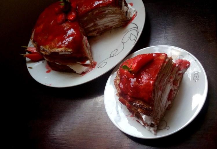 strawberries and cream crepe cake