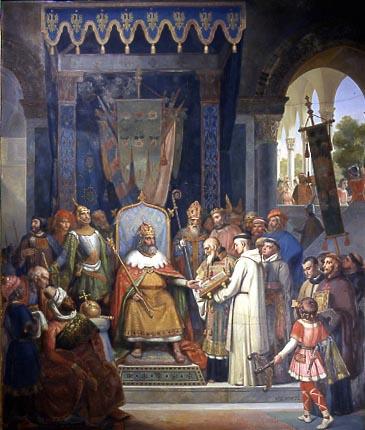 Alcuino presenta manuscritos a Carlomagno, idade media