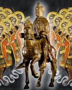 Carlos Magno, estatueta no Louvre Fundo Guariento di Arpo