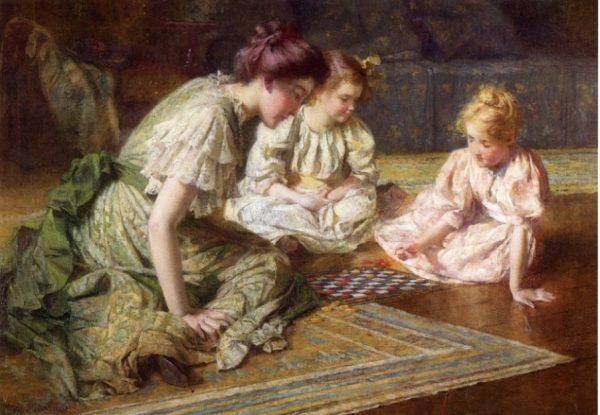 Mãe e filhas jogando xadrez (obra de Francis Coates Jones, 1857 – 1932)