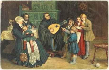 Lutero tocando alaude junto a sua mulher Catarina e filhos