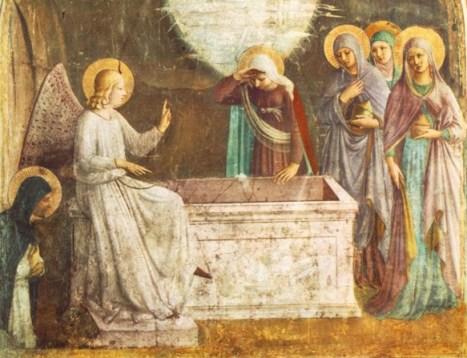 No Sepulcro vazio, o anjo avisa às santas mulheres que Cristo Ressuscitou. Obra de Fra Angélico (1387 - 1455)