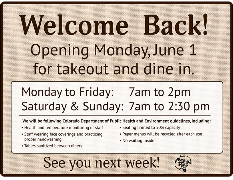Le Peep is Reopening!