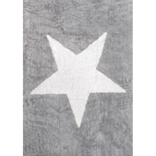 tapis etoile blanche gris