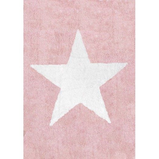 tapis etoile blanche rose