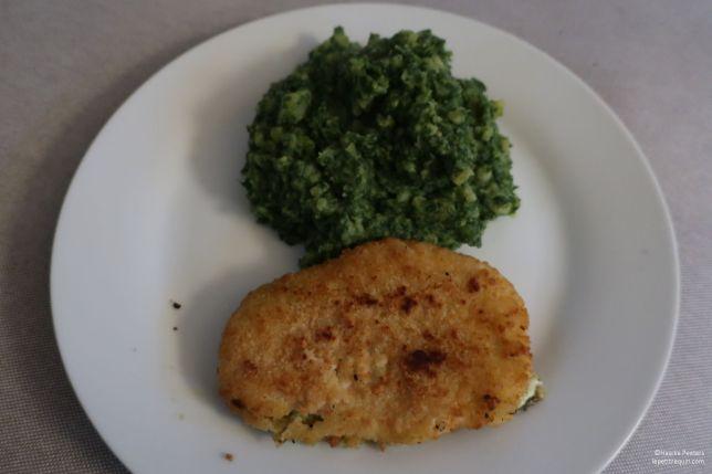 Mozzarellaschnitzel met spinaziepuree (Le petit requin)