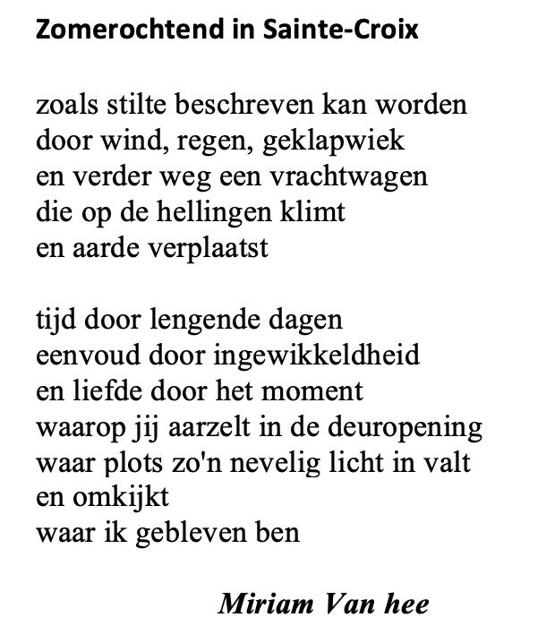 Gedicht Miriam Van Hee