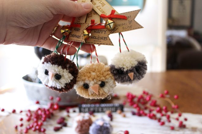 Three owl Pom Pom ornaments.