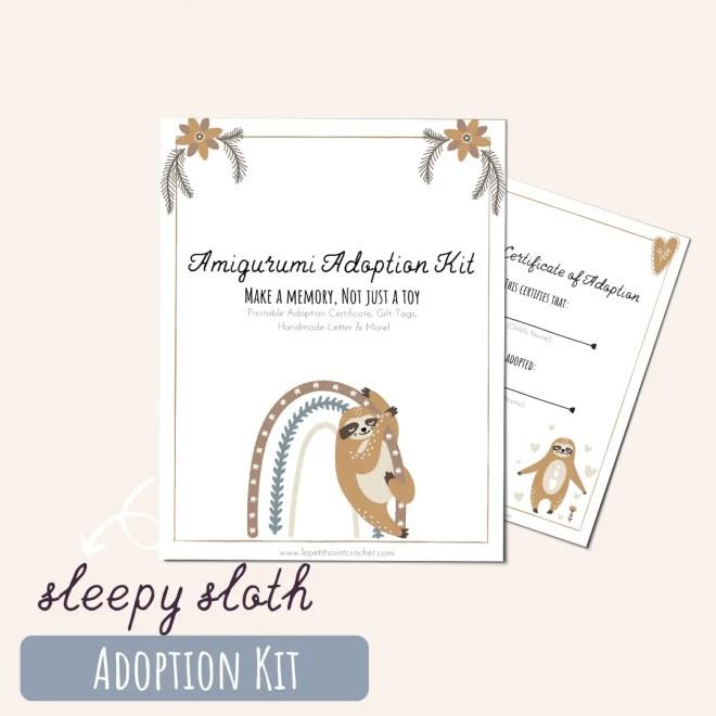 Sleepy Sloth Amigurumi Adoption Kit