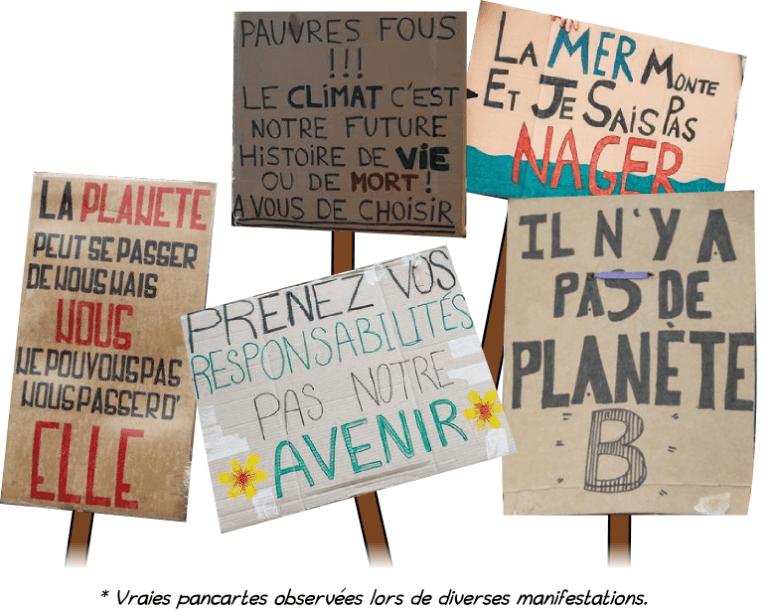 changements climatiques pancartes manifestations arguments