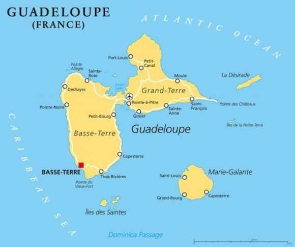 Une carte de la Guadeloupe