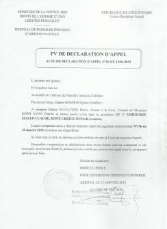Ci-dessus, le Pv de déclaration d'appel de Me Diavatché Tanoh Pierre.