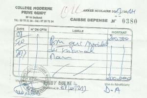 ''Et pour étouffer cette affaire, Honoré Guidy a plusieurs fois remis de l'argent au juge, dont le reçu de 200.000 FCFA que voici'', a réagi Maxime Guidy. Cette preuve (voir Fac similé)