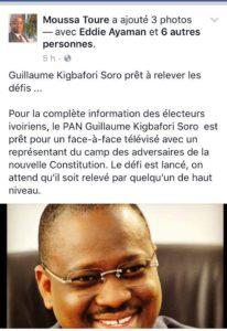 Capture du post fait par Touré Moussa