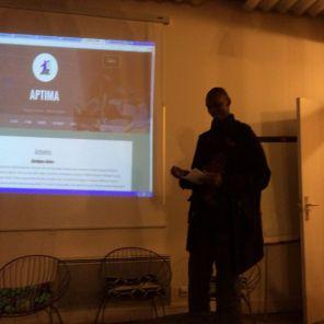 Michaël présente le site APTIMA réalisé avec sa team