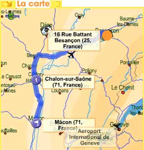 route from Besancon to Macon via Chalon sur Saone