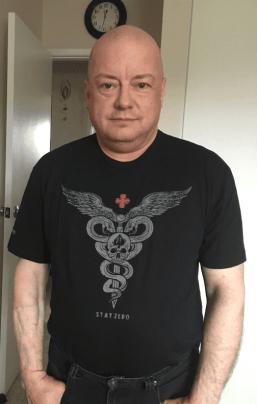 Rabbit in his Stay Zero medic T-shirt