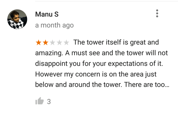 Google Maps reviews of the Eiffel Tower