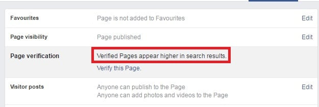 Verified pages appear higher in search results. Screenshot of a Facebook Fan Page eligible for verification