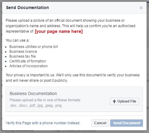 Verify Facebook page with documents