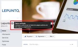 Pagina de empresa verificada en Facebook