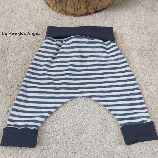 pantalon evolutif velour raye